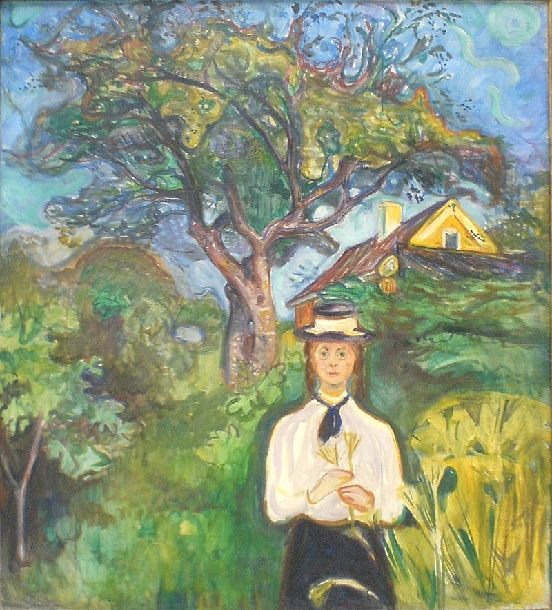 Edvard Munch Painting - Girl under the Apple tree